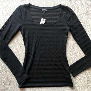 Express Black Lace Scoop Neck Long Sleeve Tee XS